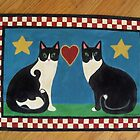 Two Mewses Primitive Floor Cloth by Beth Clark-McDonal