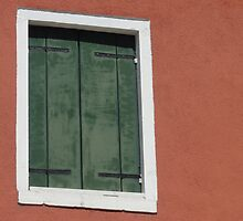 Green window in peach wall - Burano, Italy by tracyannjones
