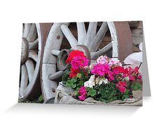 red and pink Geraniums with wagon wheels - Innsbruck, Austria Greeting Card