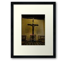 Crucifix in ancient church - Vence, France Framed Print