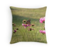 Monarch and flowers Throw Pillow