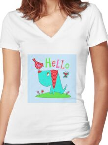 Dog and bird hello Women's Fitted V-Neck T-Shirt