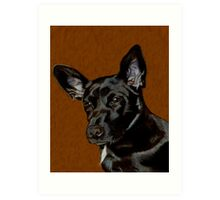 I Hear Ya! Portrait of a Little Black Dog. Art Print