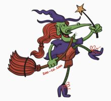 Crazy Witch Dancing with her Magic Wand Kids Clothes