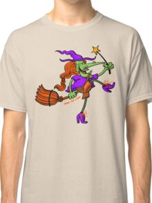 Crazy Witch Dancing with her Magic Wand Classic T-Shirt