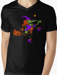 Crazy Witch Dancing with her Magic Wand Mens V-Neck T-Shirt