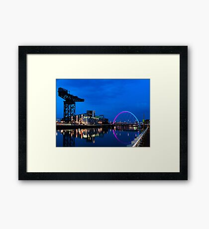 Night Reflections - Glasgow Titan and Squinty Bridge. Framed Print