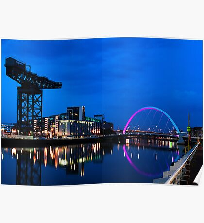 Night Reflections - Glasgow Titan and Squinty Bridge. Poster