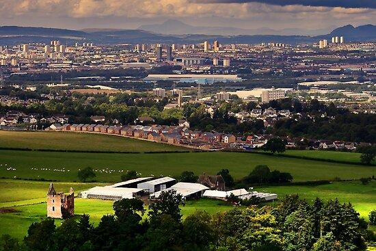 Gilbertfield Castle & Glasgow by Peter Stark