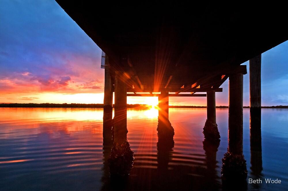Ripple Sunset - South Stradbroke Island by Beth  Wode