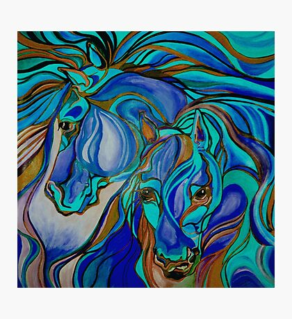 Wild  Horses In Brown and Teal Photographic Print
