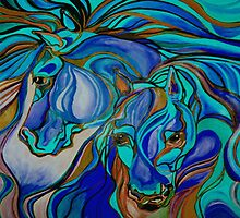 Wild  Horses In Brown and Teal by taiche