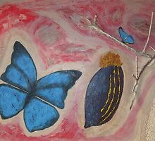 Butterfly with fruit branch and sand by mdagis