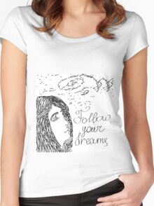 Hand drawn sketch with girl and text Follow your dreams Women's Fitted Scoop T-Shirt