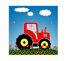Red tractor in a field Art Print