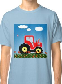 Red tractor in a field Classic T-Shirt