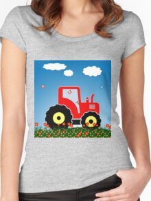 Red tractor in a field Women's Fitted Scoop T-Shirt