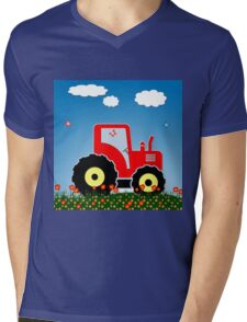 Red tractor in a field Mens V-Neck T-Shirt