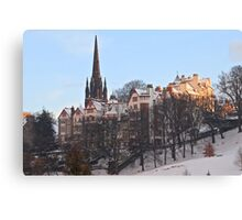 Ramsay Gardens in Winter, Edinburgh, Scotland Canvas Print