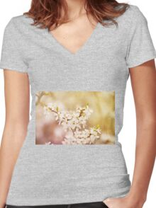 cherry tree young blossoms Women's Fitted V-Neck T-Shirt