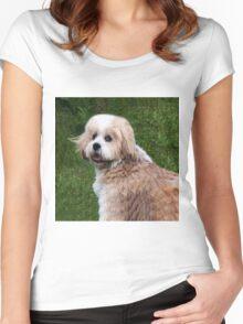LHASA APSO-(I WISH I WAS A TEDDY BEAR)--PRECIOUS TEDDY BEAR CANINE APPAREL Women's Fitted Scoop T-Shirt