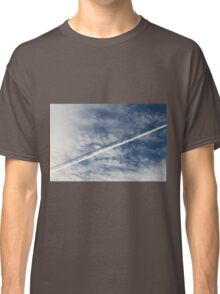 wake of the plane in the clouds Classic T-Shirt