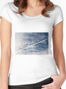 wake of the plane in the clouds Women's Fitted Scoop T-Shirt
