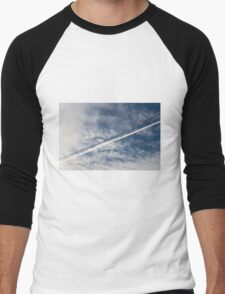 wake of the plane in the clouds Men's Baseball ¾ T-Shirt
