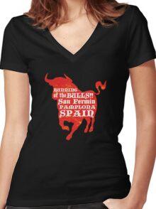 Running of the Bulls Women's Fitted V-Neck T-Shirt