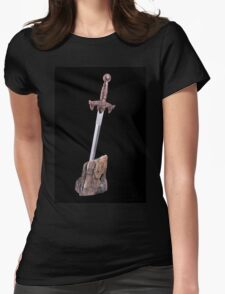 sword in the stone symbol of King Arthur  Womens Fitted T-Shirt