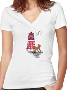 DALEK RELIEF Women's Fitted V-Neck T-Shirt