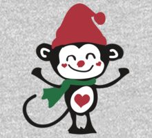 Cute monkey Santa Claus One Piece - Short Sleeve