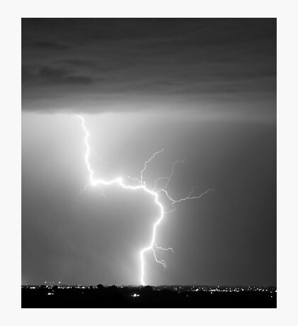 C2G Lightning Strike in Black and White Photographic Print