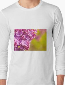 Pink Syringa vulgaris or lilac flowers macro  Long Sleeve T-Shirt