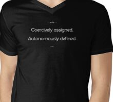 Coercively assigned, autonomously defined Mens V-Neck T-Shirt