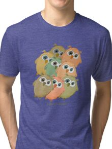 Cartoon watercolor owls. Tri-blend T-Shirt