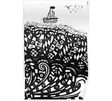 Hand drawn scetch of ship on a waves and flying seagulls. Poster