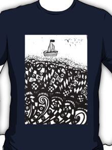 Hand drawn scetch of ship on a waves and flying seagulls. T-Shirt