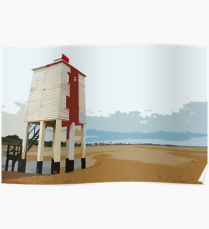 Burham light and beach, Burnham on Sea Poster