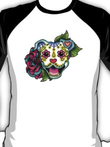 Day of the Dead Smiling Pit Bull Sugar Skull Dog T-Shirt