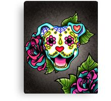 Day of the Dead Smiling Pit Bull Sugar Skull Dog Canvas Print