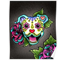 Day of the Dead Smiling Pit Bull Sugar Skull Dog Poster