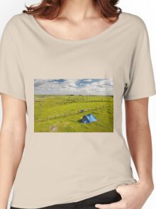 Camping tent and grass expanse landscape  Women's Relaxed Fit T-Shirt