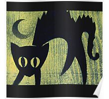 Scary Black Cat on Halloween Night Poster