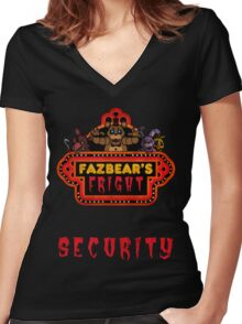Five Nights at Freddy's - FNAF 3 - Fazbear's Fright Security Women's Fitted V-Neck T-Shirt