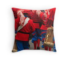 Red and Blue Drummers Throw Pillow