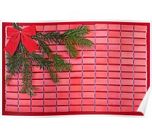 red christmas tree bow Poster