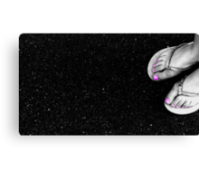 Pink Toes on Gray Street Canvas Print