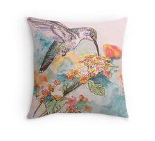 Lantana and Hummingbird Throw Pillow