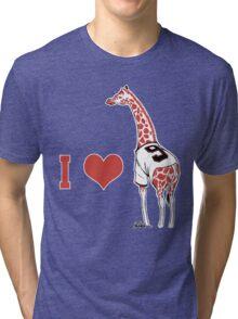 I ♥ Belt Giraffe Tri-blend T-Shirt